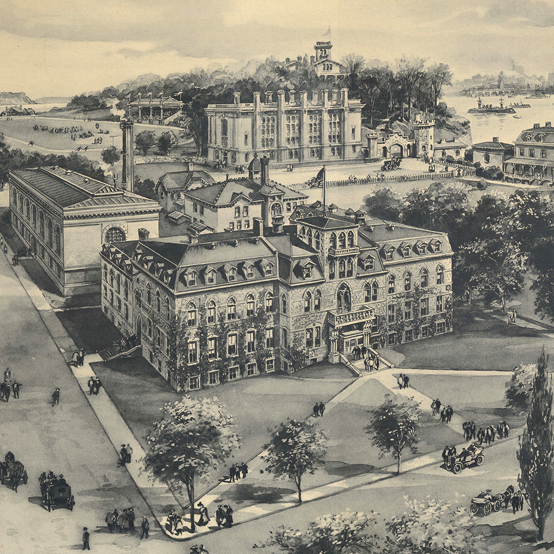 1.) Lithographic print of Stevens campus, 1908 (SCW.010)